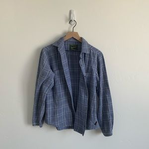 Wool rich button up plaid flannel shirt